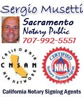 Apostille service, California legalization of documents, Sacramento Mobile Notary Public Signing Agent, NNA certified, bilingual, since 2003. Sergio Musetti http://Apostille.homestead.com Tel 1-707-992-5551